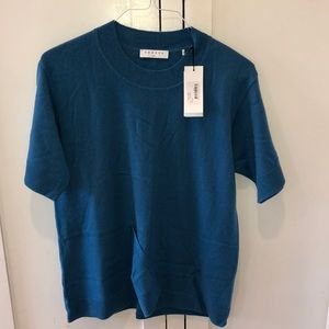 Sandro sweater w/ vented hem, blue, wool/cashmere
